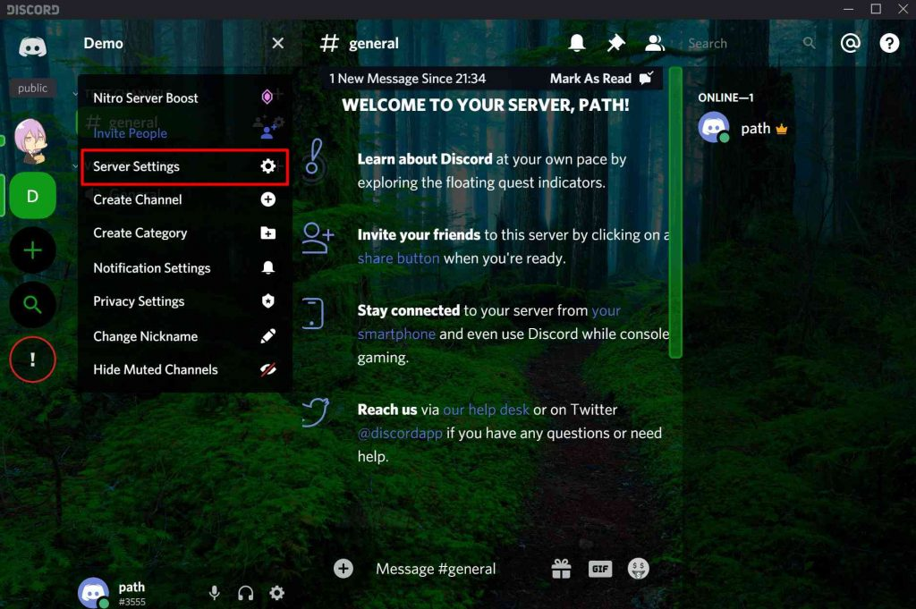 Discord Client Server Settings
