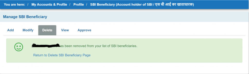 Sbi account removed
