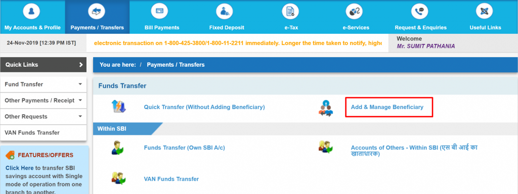 Remove Beneficiary in Sbi