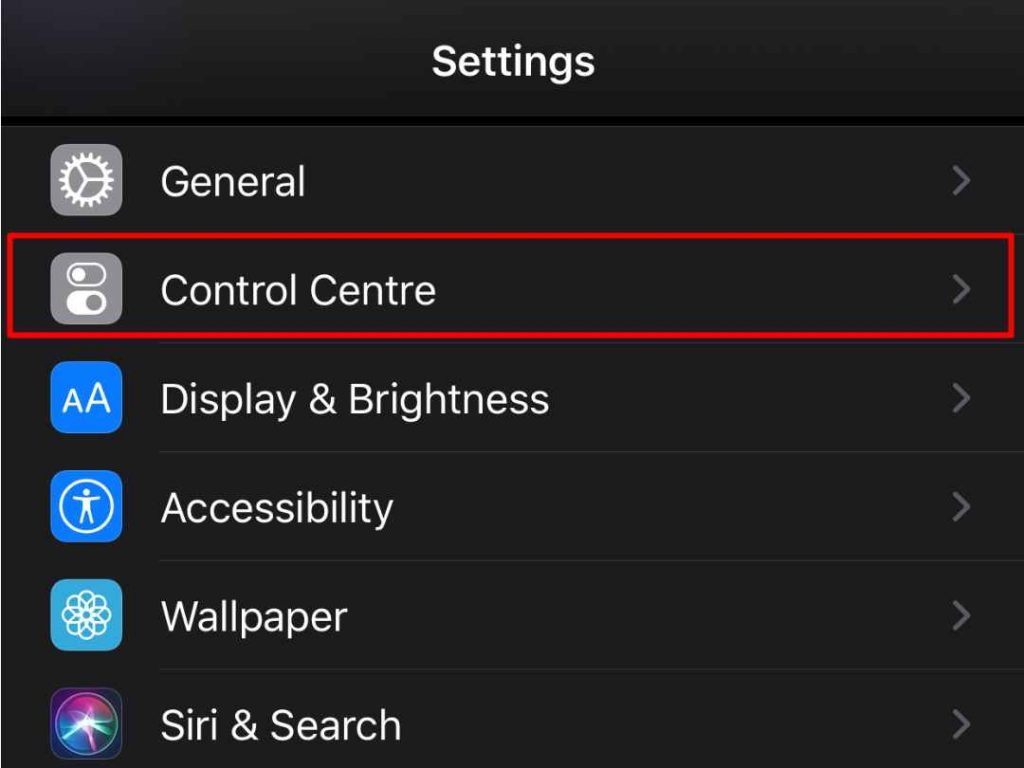 iPhone Settings Control Center