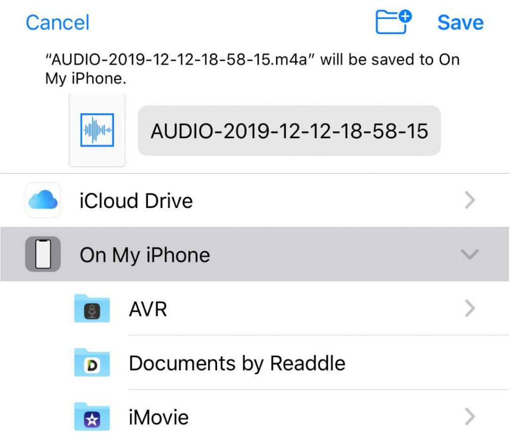 Save Audio Files in iPhone