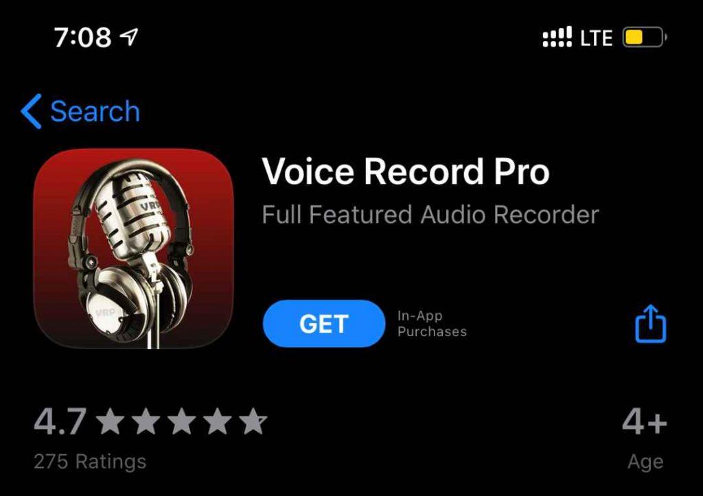 Voice Recorder Pro iPhone