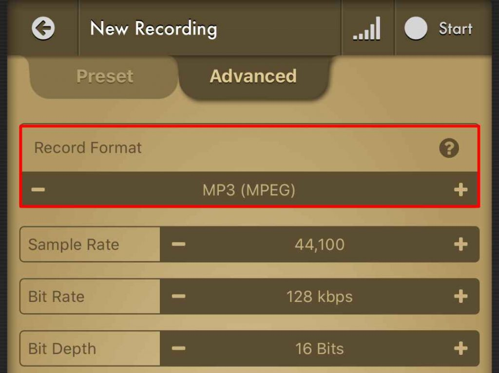 Voice Recorder Pro Mp3 Settings