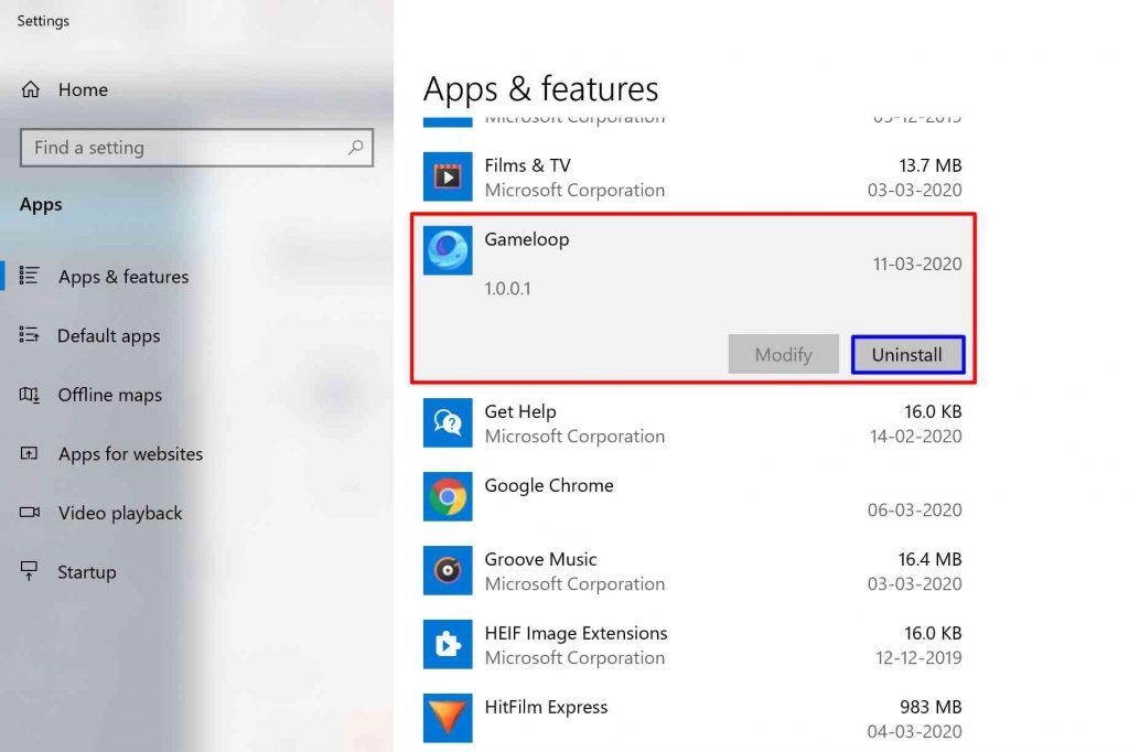 App Uninstall Windows